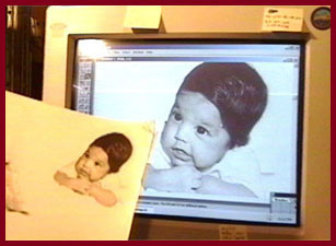 Baby pic on computer